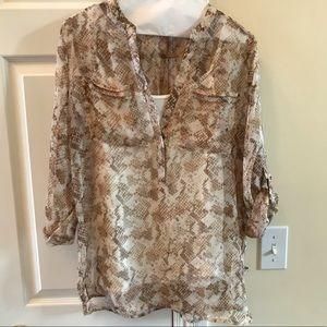 AB Studio snakeskin print blouse shirt MED + cami